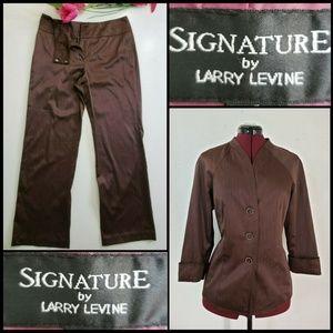 Larry Levine Woman Pinstripe Blazer Suit Pants 6